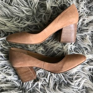 Franco Sarto   Nude Leather Block Heels